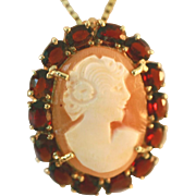 10k Gold Vintage Carved Shell Cameo Framed in Red Garnet Frame Pin/Pendant