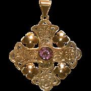 Large 10k Rose Gold Hand Made Arts & Crafts Antique Maltese Cross Pendant, Color Change Stone
