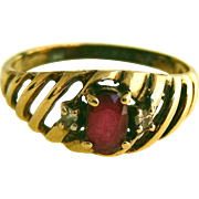 10k Vintage Ruby Ring, Diamond Accents, Open Grill, Size 5 ½