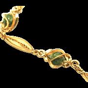 12k Vintage Gold Filled Encased Jade Balls Link Bracelet