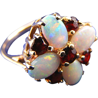 14k Colorful Opal & Ruby Vintage Cluster Ring, Size 4 1/2