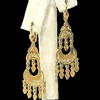 14k Yellow Gold Vintage Intricate Diamond Cut Chandelier Pierced Earrings, 2.83 Grams