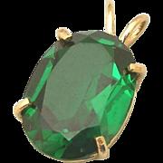 Large Deep Emerald Green Stone set in 14k Gold Pendant