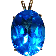 14kt Yellow Gold Large Stone Deep Aqua Blue Vintage Pendant