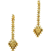 Imperial Gold 14k Woven Wheat Pattern Dangle or Drop Pierced Earrings