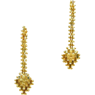 Solid 14k Imperial Gold Wheat Pattern Vintage Drop or Dangle Post Earrings