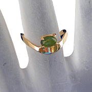 14k Yellow Gold Modernistic Vintage Jade Ring, Signed DAVIAN, Size 6