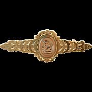 14k Yellow & Pink Gold Puti, Open Cut Work Cupid Cameo Vintage Bar Pin