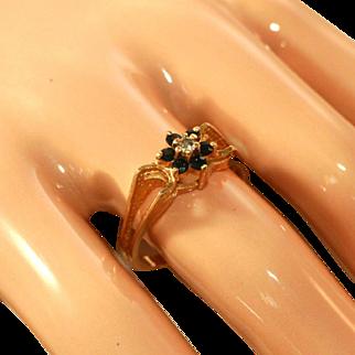 14k Yellow Gold & Sapphire, Diamond Raised Setting Vintage Ring, Size 7 1/2