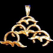 Large 14k Gold Vintage Flying Seagulls Pendant