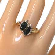 14k Yellow Gold & Sapphire & Accent Diamonds Vintage Ring, Size 9 1/2