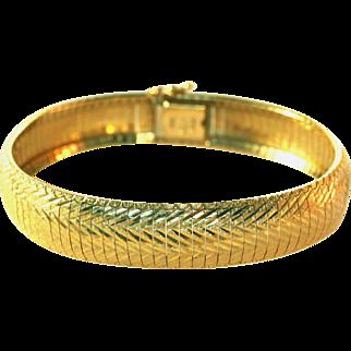14K Solid Gold Vintage Diamond Cut Flexible Bangle Bracelet, 22.6 Grams or .8 Oz.!