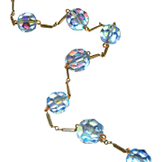 "30"" Long Vintage Sterling Vermiel Necklace, Blue Aurora Borealis Faceted Glass Beads, c.1950"