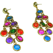 "70's Vintage Gem Colors Shoulder Duster 2 ½"" Long Chandelier Pierced Earrings"