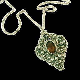"Large 2"" (Inch) Peruzzi 800 Silver & Sterling Silver Pin Citrine Topaz Pendant Vintage Necklace"
