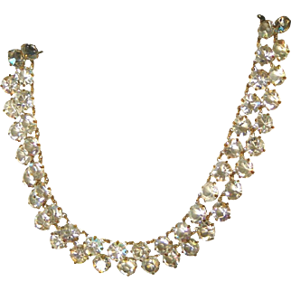 Double Strand Open Back Aurora Borealis Crystals Vintage Necklace