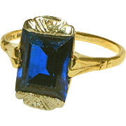Art Deco 10k Gold Large Blue Synthetic Sapphire Stone Ring, Size 7 ½