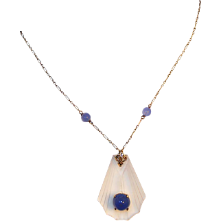 Art Deco 14kt Gold, Rock Crystal & Chalcedony Lavaliere Drop Necklace