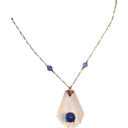 Art Deco 14K Gold & Rock Crystal & Chalcedony Lavaliere Drop Necklace