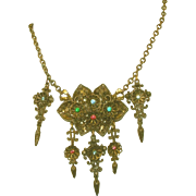 Austro Hungarian Vintage Necklace, Multi Colored Stones, Five Drops