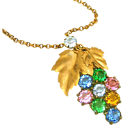 Art Deco Vintage Austro Hungarian Open Back Brilliant Crystals Grape Bunch Lavaliere Style Necklace