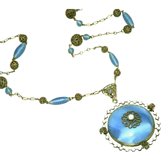 Art Deco Blue Glass, Enamel & Sterling Silver Vintage Lavalier Necklace
