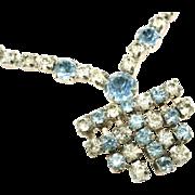 Blue & Clear Paste or Diamante Glass Rhinestone Art Deco Cascading Necklace