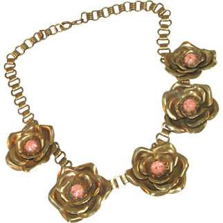 Bookchain & Cabbage Rose Vintage All Brass Art Deco Necklace