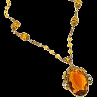 Outstanding Large Citrine Glass Art Deco Czech Lavaliere Vintage Necklace