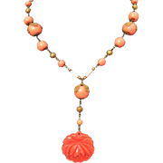 Art Deco Carved Coral Glass Lavaliere Style Drop Necklace