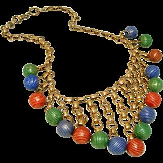 Art Deco Brass Fringe Bookchain Necklace Enamel Ball Drops