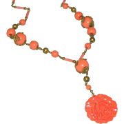 Caved Coral Glass & Brass Czech Vintage Art Deco Rose Drop, or Lavaliere Necklace c.1920