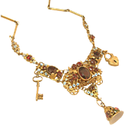 The Most Incredible Signed Vintage Art Deco Czech Enamel & Filigree Lock & Key Necklace!