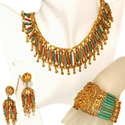 Iconic Vintage Art Deco Egyptian Revival Czech Bookpiece Set, Necklace, Bracelet, Earrings