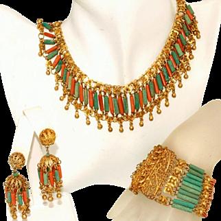 Vintage Art Deco Egyptian Revival Czech Bookpiece Set, Necklace, Bracelet, Earrings