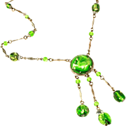 Czech Signed Art Deco Emerald Green Foil Glass Lavaliere Style Negligee Necklace