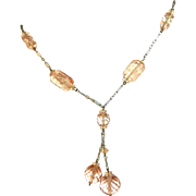 Art Deco Vintage Pink Pressed & Cut Glass Beads Necklace, Paper Clip Chain, c.1920