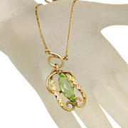 "Art Deco Over ½"" Long Large Peridot Marquis Open Back Stone White Co. Lavaliere Necklace, c.1920"