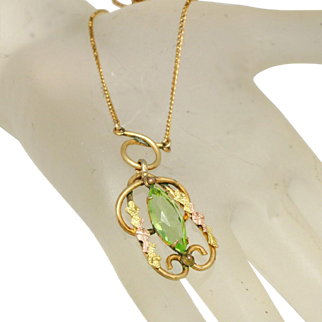"Art Deco Over ½"" Long Large Peridot Marquis Open Back Stone White Co. Lavaliere Necklace"