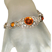 Art Deco Vauxhall Citrine Glass & Silver Plated Filigree Vintage Czech Bracelet