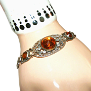 Art Deco Vauxhall Citrine Glass & Silver Plated Filigree Vintage Czech Bracelet