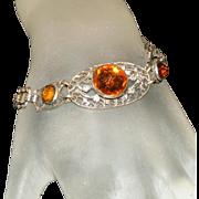 Art Deco Vauxhall Citrine Glass & Silver Plated Filigree Vintage Czech Bracelet Glass