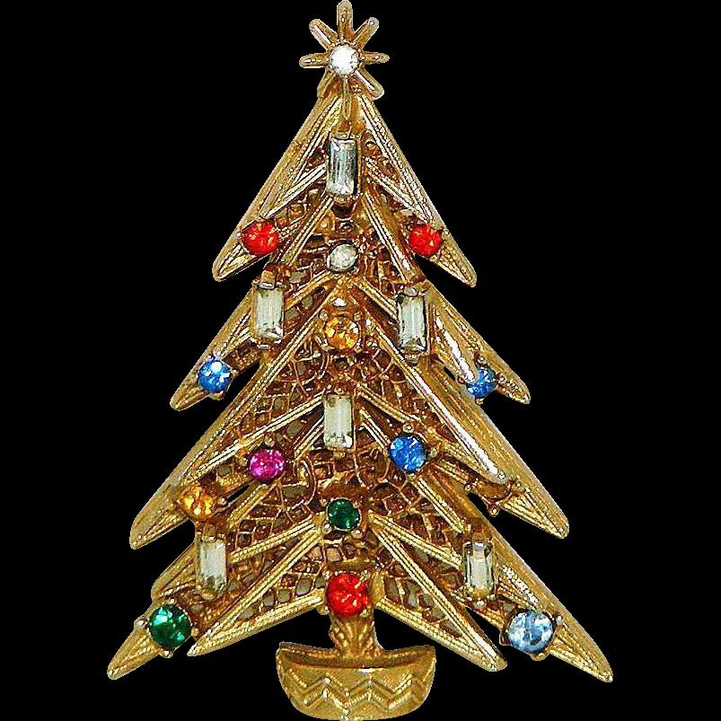 Rhinestone art christmas tree pin from rubylane sold on ruby lane