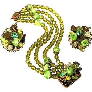 Stunning Vintage Peridot Green Glass Multi Strand Wide Bracelet, Fancy Clasp & Large Fancy Earrings, Set