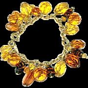 Amber Glass Vintage Charm Bracelet, Various Shades of Golden Color