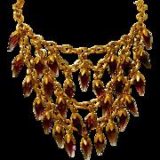 Antique Amethyst Purple Prism Glass Fringed Bib Necklace