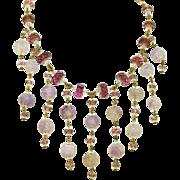 Art Deco Carved Amethyst Quartz & Faceted Amethyst Glass Vintage Fringed Bib Necklace