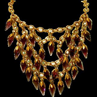 "Antique Amethyst Purple Prism Glass Fringed 4"" , Four Inch Bib Necklace!"