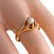 Antique High Set Victorian, Art Nouveau Seed Pearl 10k Gold Ring, Size 5