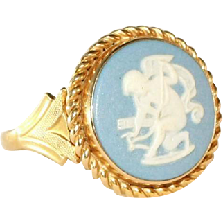 Antique Victorian Wedgwood Blue Jasper Ware Puti, Cupid Cameo 14k Ring, Size 5 1/2